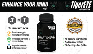 Smart Energy: Caffeine with L-Theanine for Powerful Energy, Focus, Clarity- #1 Ranked Cognitive Performance Stack- Proven No Crash or Jitters-All Natural- Caffeine 100mg, L-Theanine 200mg 1