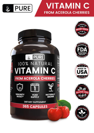100% Natural Vitamin C from Acerola Cherry, 1 Year Supply, No Synthetic Ascorbic Acid, No Rice Fillers or Magnesium Stearate, 365 Capsules with 535 mg Undiluted Acerola Cherry with No Additives 365 Caps