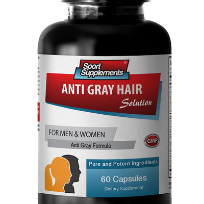 Hair care vitamins - ANTI GRAY HAIR NATURAL FORMULA for Men and Women - Folic acid - 1 Bottle 60 Capsules