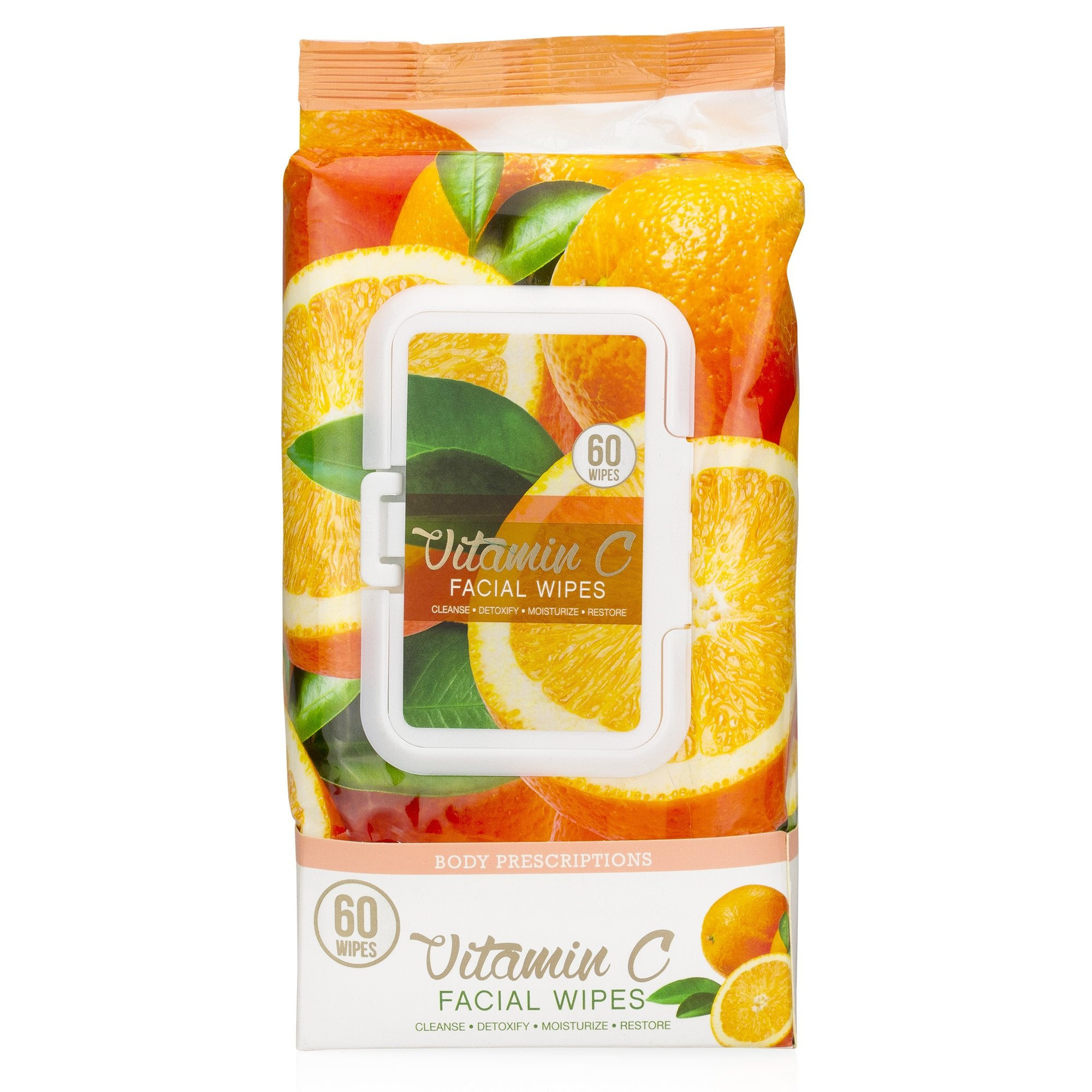 Body Prescriptions -2 Pack (60 Count Each) Vitamin C Facial Cleansing Wipes