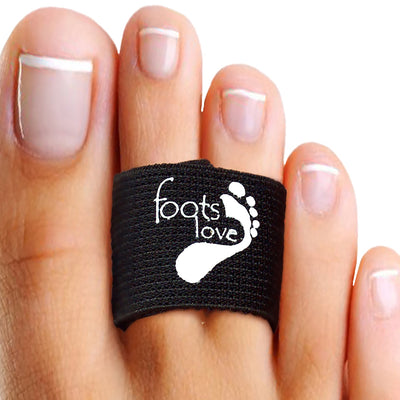 Foots Love Infused Copper Healing Toe Straightener-Hammer Toes, Toe Separators- Broken Toe Splint-Turf Toe Pads. Superior to Toe Tape. Doctor Recommend Toe Pain Gone Black
