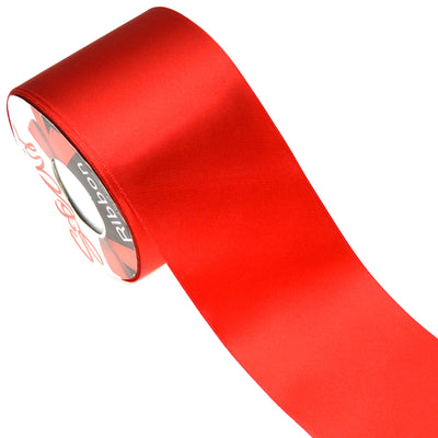 Star Quality 3 Inch Wide Satin Ribbon by 25 Yard Spool| Polyester Ribbon for Floral Arrangement, Wedding Bouquet, and Big DIY Artwork Projects | No Fading Woven Ribbon (3 Inch Width,Christmas Red) 3 Inch Width
