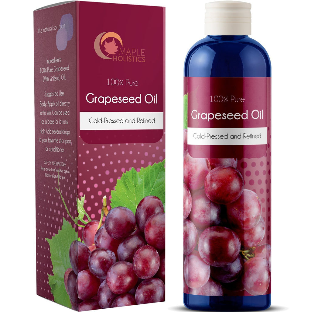 100% Pure Grapeseed Oil For Skin Face And Hair Natural Vitamin Rich Carrier Oil Hypoallergenic Anti Aging Serum Moisturizer and Therapeutic Hydrating Anti Cellulite Massage Oil For Muscles And Joints