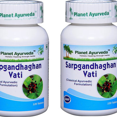 Sarpgandhaghan Vati (Rauwolfia serpentina) for Hypertension - 2 bottles (each 120 tablets, 500mg) - Planet Ayurveda (in USA)