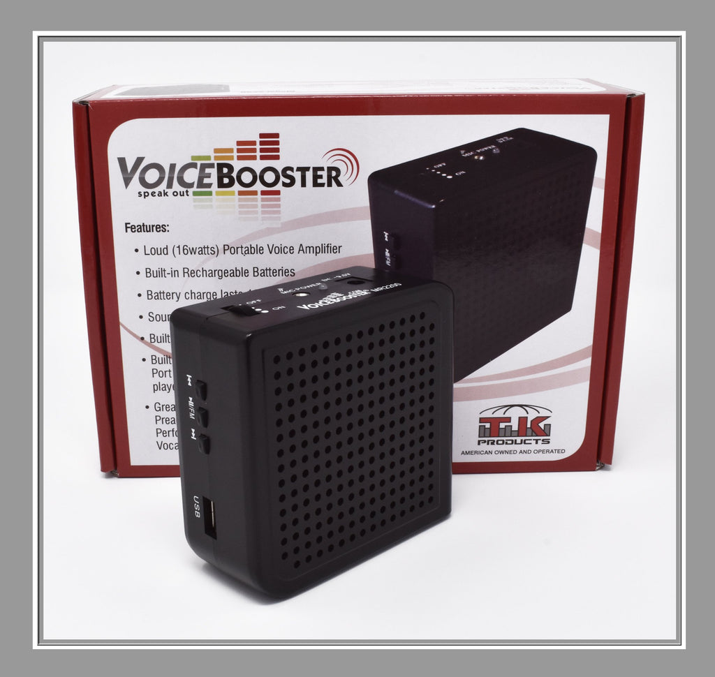VoiceBooster Voice Amplifier & Mp3 Player 16watts Black MR2200 (Aker) by TK Products,Portable, for Teachers, Coaches, Tour Guides, Presentations, Costumes, Etc.