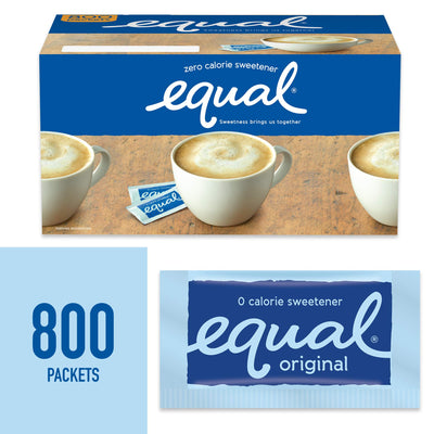 EQUAL 0 Calorie Sweetener, Sugar Substitute, Zero Calorie Sugar Alternative Sweetener Packets, Sugar Alternative, 800 Count Original 800 Packets (Pack of 1)