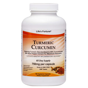 Life's Fortune Turmeric Curcumin Dietary Supplement, Supports Joint Relies, Antioxidant Health, Immune, Digestive and Liver Health, 180 Vegetarian Capsules - 750mg
