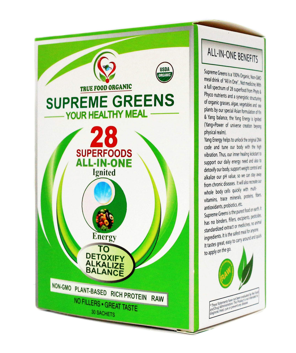 Power Beyond Vitamins-True Organic Supreme Greens, 30 day packs