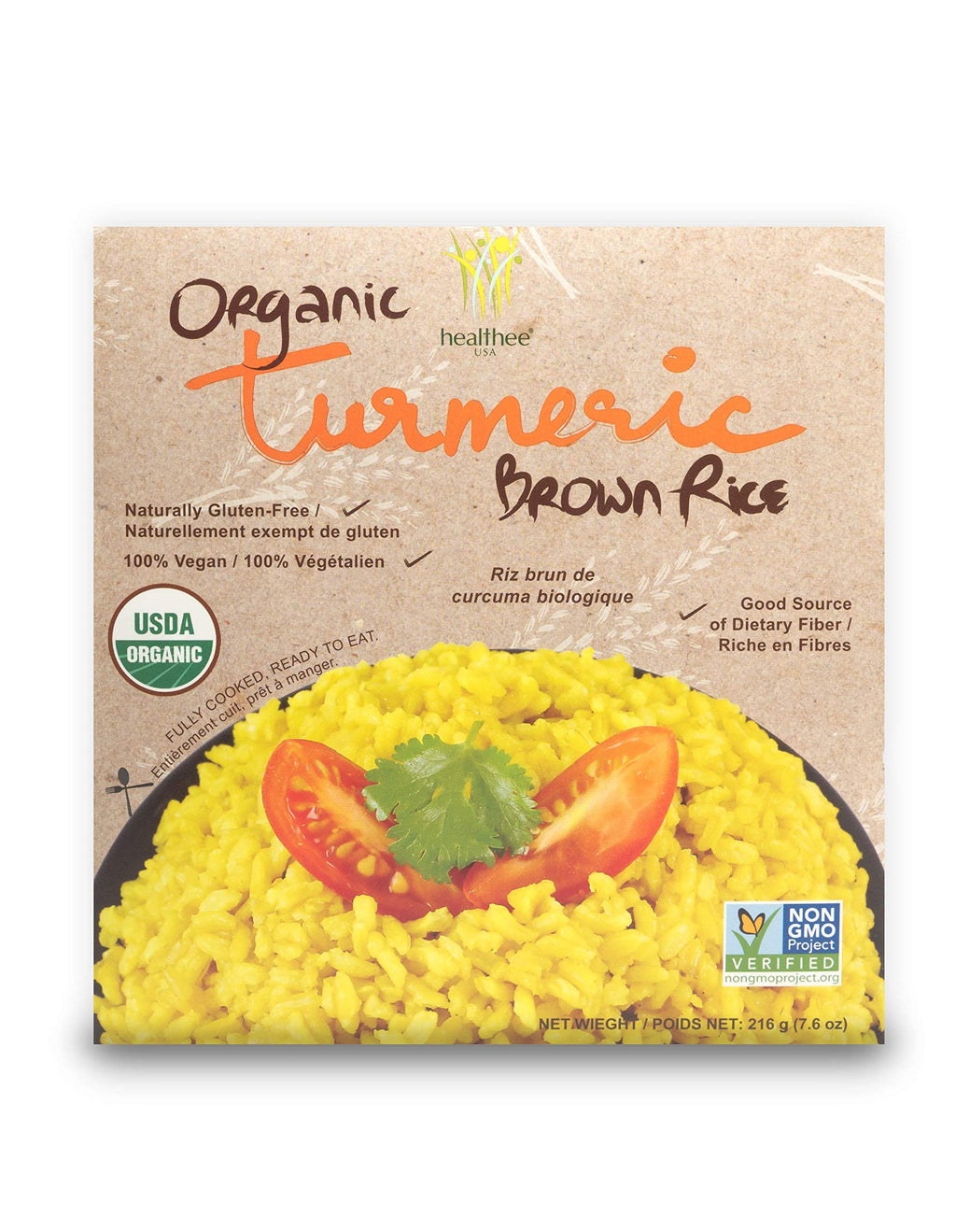 Healthee Organic Brown Rice, Gluten Free, Fully Cooked and Ready-to-Eat, USDA Certified Organic, GMO-Free, Microwaveable (Turmeric, Pack of 4) Turmeric 7.6 Ounce (Pack of 4)