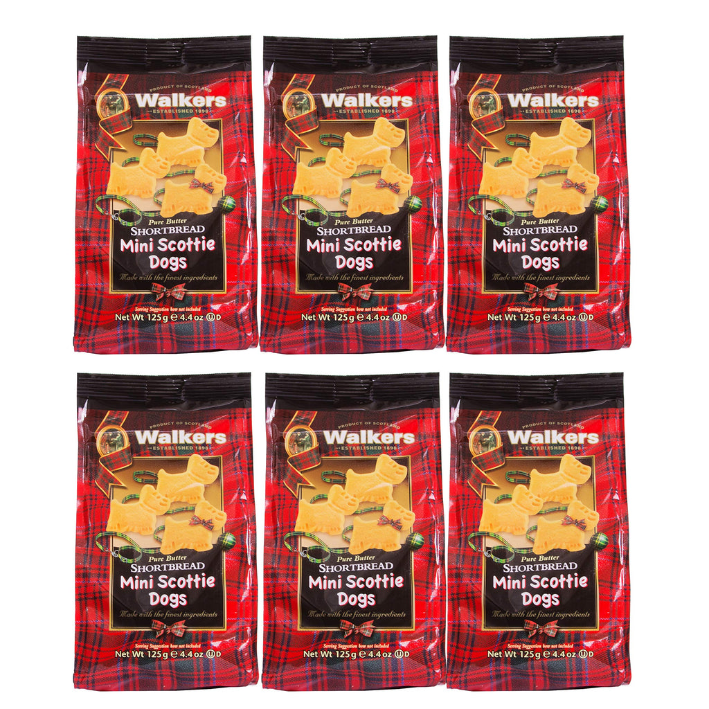 Walkers Shortbread Mini Scottie Dog Shaped Shortbread Cookies, 4.4 Ounce Bag (Pack of 6)