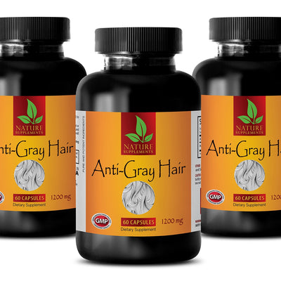antiaging hair care - ANTI-GRAY HAIR 1200 Mg - nettle hair growth - 3 Bottles (180 Capsules)