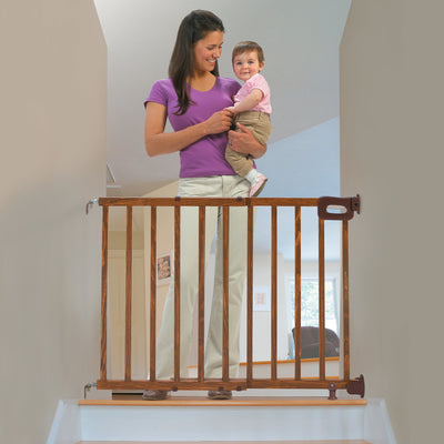 Summer Deluxe Stairway Simple to Secure Wood Gate, 30-48 Inch Wide Oak 30 - 48 Inch