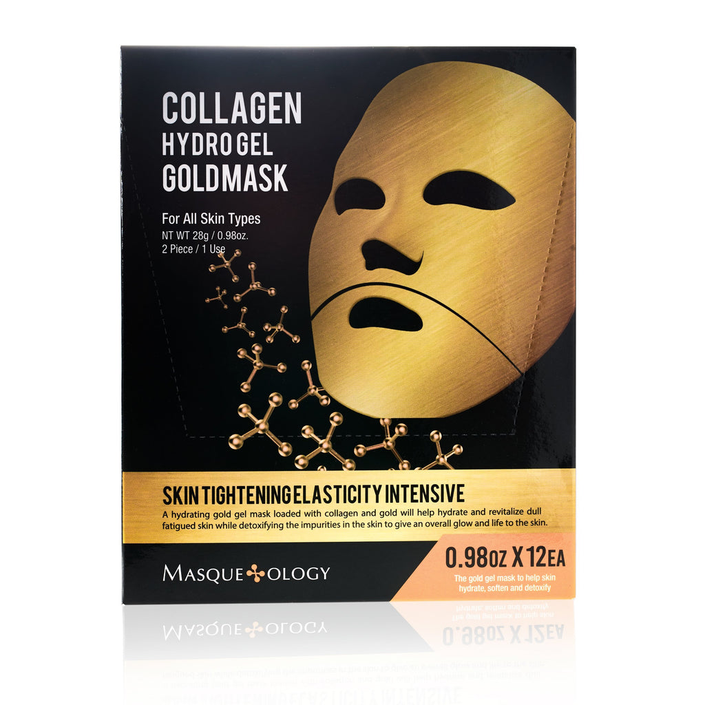 Masqueology Hydro Gel Gold Mask Gold Face Mask 12 Pack
