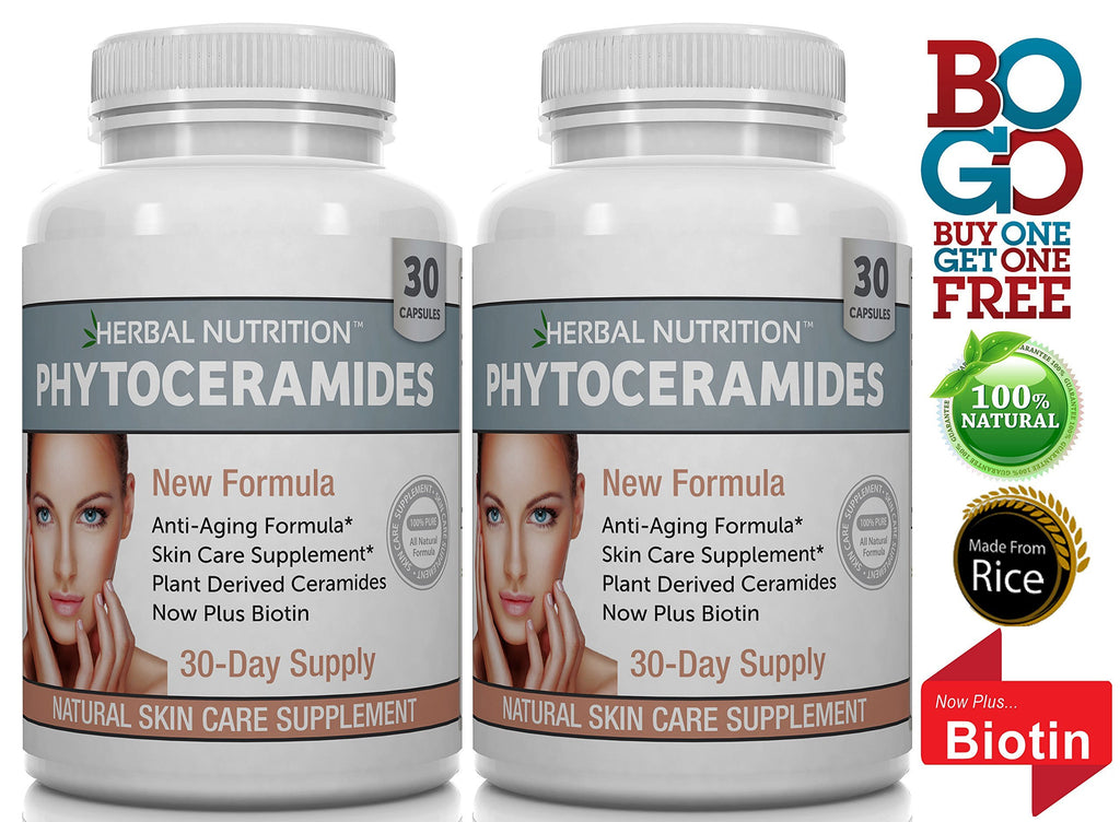 #1 Rated Phytoceramides from Rice with Biotin and Vitamins A, C, D, E, 2 Bottle Pack, Anti-Aging Skin, Hair, Nails Rejuvenation, All-Natural Ceramides, 40mg Gluten Free, a 60 Day Supply, Free Shipping