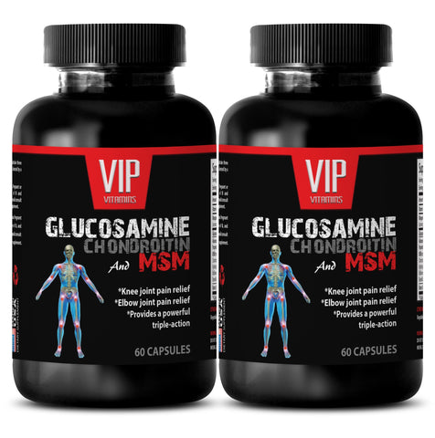 anti-aging hair care - GLUCOSAMINE CHONDROITIN & MSM 3200MG - wellness formula pills - 2 Bottles 120 Capsules