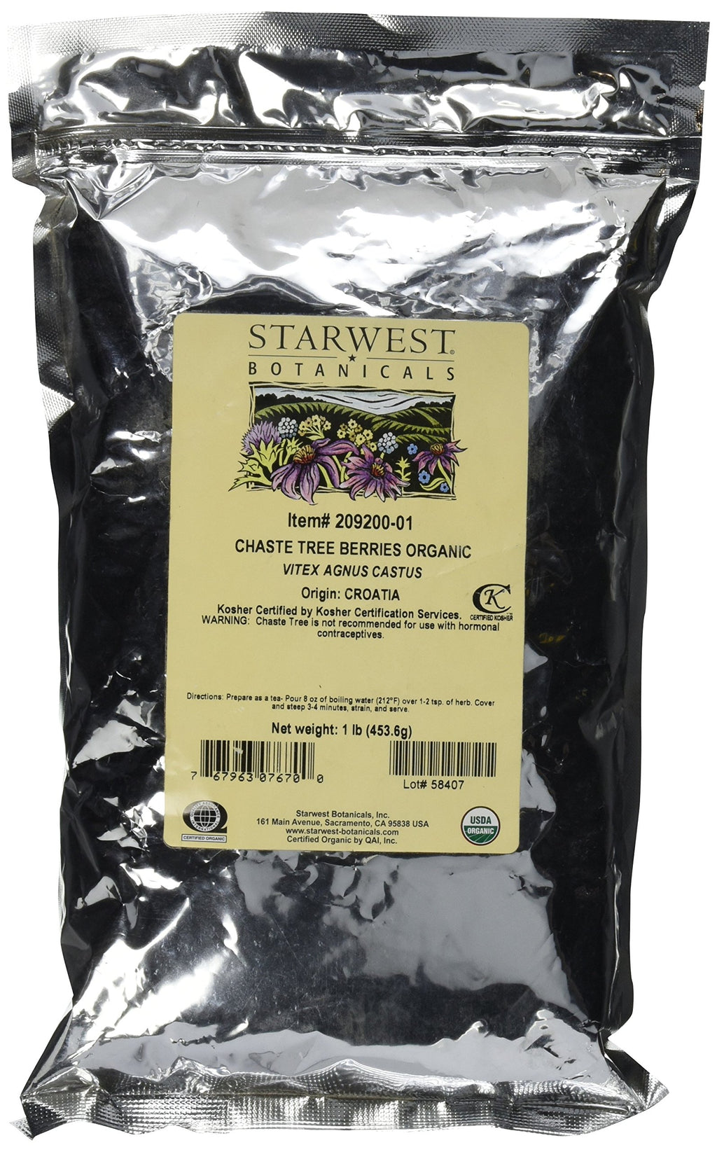 Starwest Botanicals Organic Chaste Tree Berries Whole, 1 Lb