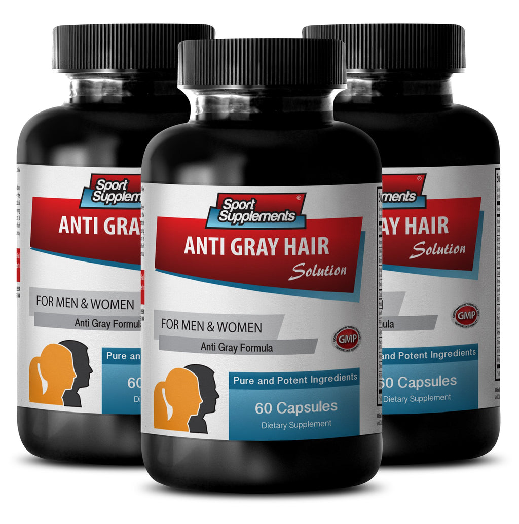 Gray Hair Care - Anti Gray Hair Natural Formula for Men and Women - Fo ti Powder, Chlorophyll, Biotin Hair Health, Saw Palmetto - 3 Bottles 180 Capsules