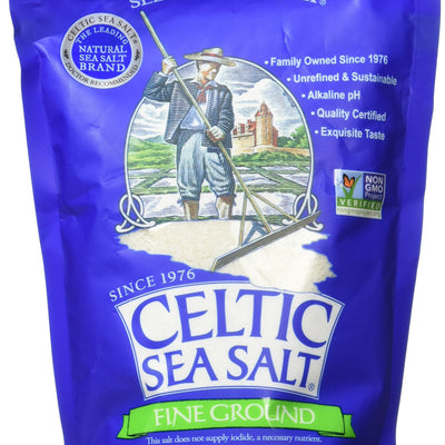 Fine Ground Celtic Sea Salt – (1) 16 Ounce Resealable Bag of Nutritious, Classic Sea Salt, Great for Cooking, Baking, Pickling, Finishing and More, Pantry-Friendly, Gluten-Free 1 Pound (Pack of 1)