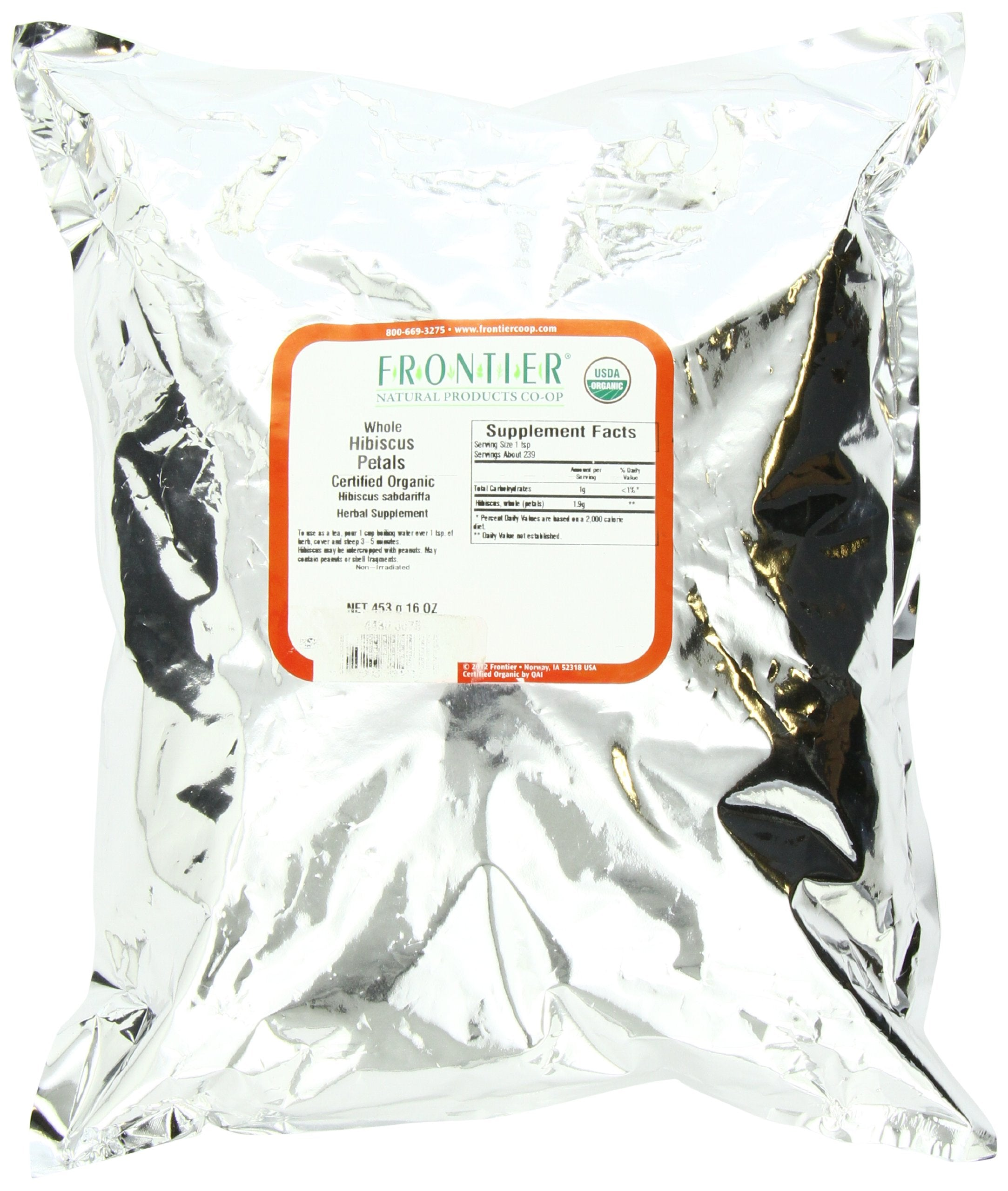 Frontier Organic Spices, Whole Hibiscus Petals, 16 Ounce