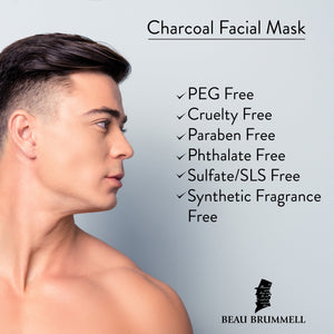 Men's Face Mask by Beau Brummell for Men | Best Charcoal Mask for Men | Detoxifying Facial Treatment with Kaolin Clay & Activated Charcoal- Purifying & Deep Cleansing Formula Helps w/Blackheads & Acne