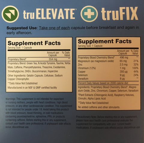TRUVISION HEALTH - TRUFIX/TRUELEVATE- 15 DAY SUPPLY - (60) CAPSULES - REPLACES WEIGHT & ENERGY WITH BETTER FORMULA
