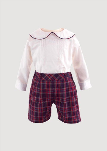 Pintuck Shirt & Tartan Short Set Set Rachel Riley