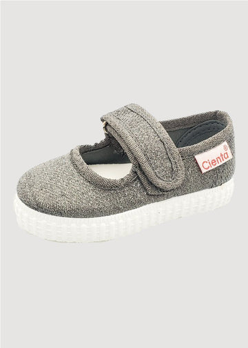 grey sparkle mary jane Shoes Cienta