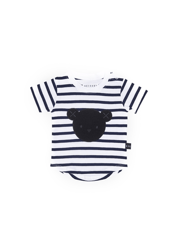 black terry bear stripe tee Tee Huxbaby