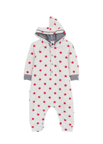 star printed hooded coverall Onesie Petit Bateau