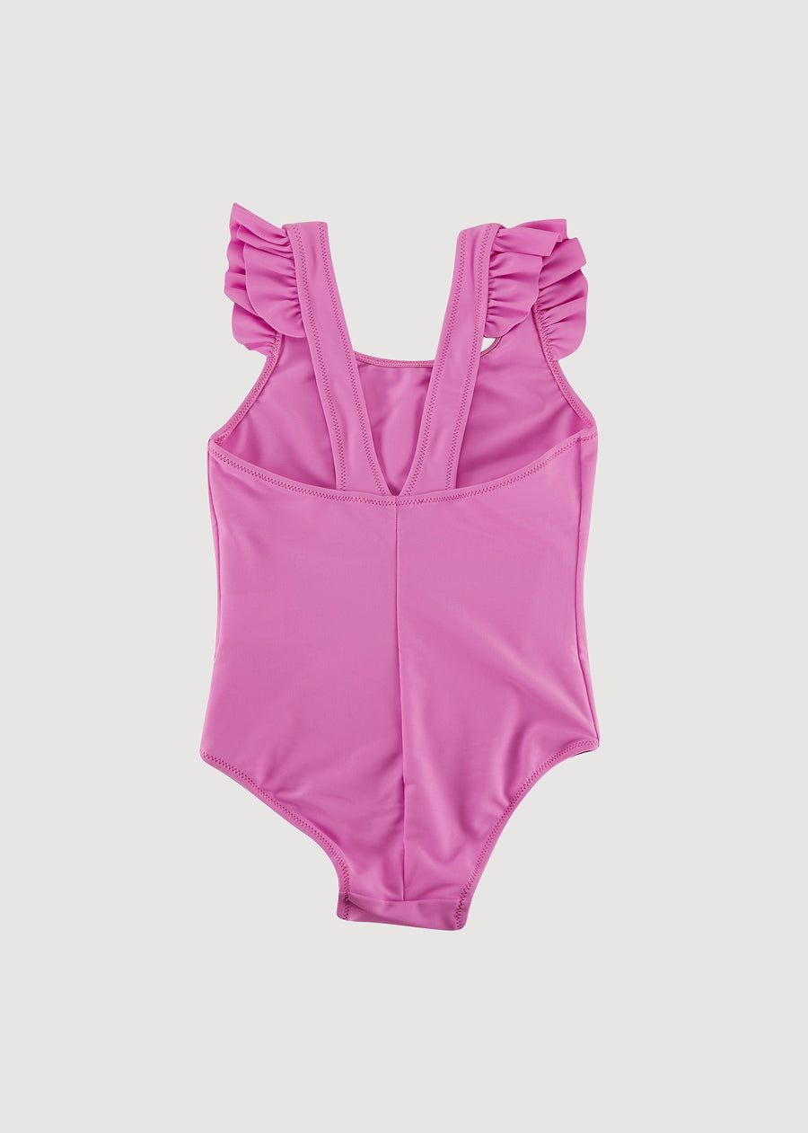 Greta Ruffle Shoulder Swimsuit - Hot Pink Swim Giggle