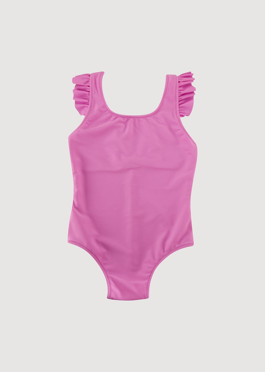 Greta Ruffle Shoulder Swimsuit - Hot Pink Swim Giggle 6M Hot Pink