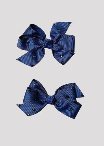navy bow set with stones Accessory River and Rosy