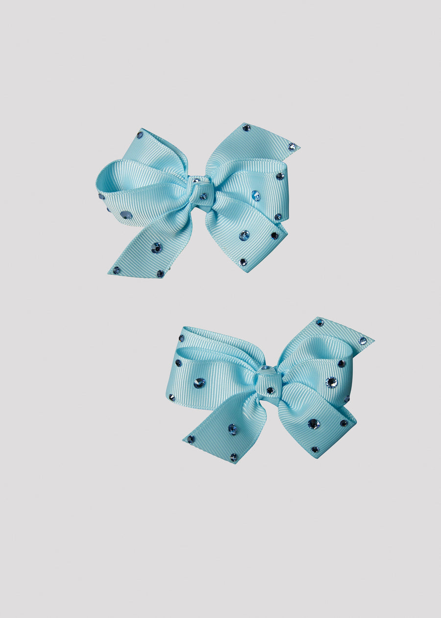 blue bow set with stones Accessory River and Rosy