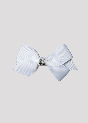 white bow with center stones Accessory River and Rosy