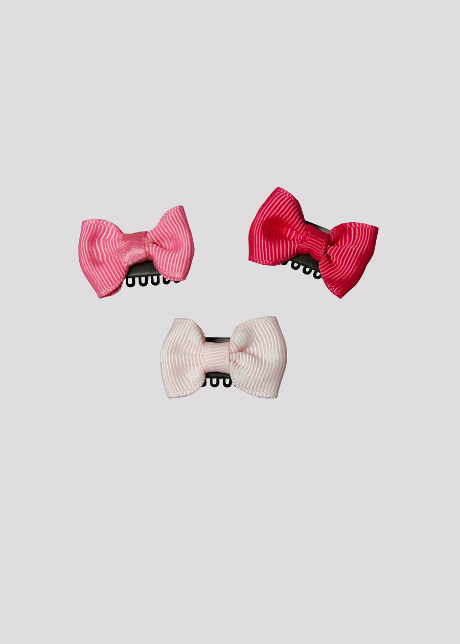 solid pink bow set Accessory River and Rosy