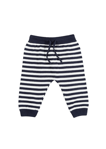 Peyton Cotton Knit Pant - Navy/White Bottom Giggle