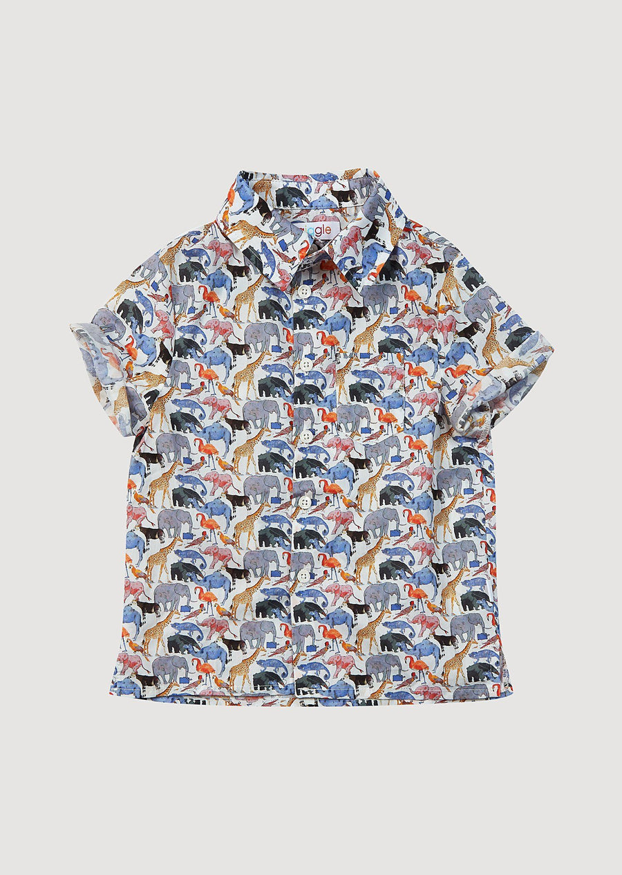 Cameron Liberty Print Button Down Shirt - Animal Top Giggle 6m Brown