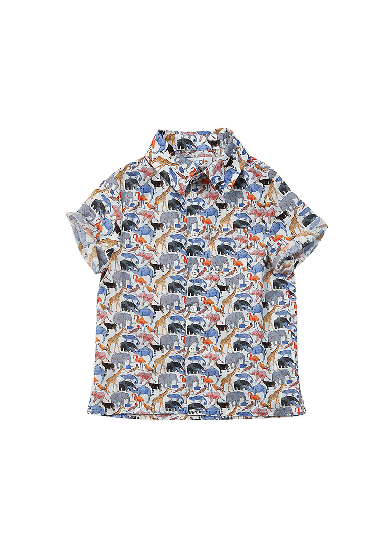 Cameron Liberty Print Button Down Shirt - Animal Top Giggle