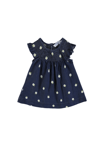 infant denim dress with flower detail Dress Mayoral