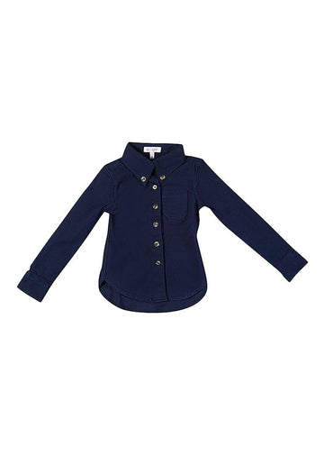 Levi Twill Boy Shirt - Navy Top Giggle