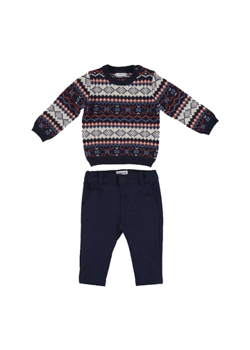 dark blue jacquard sweater set Set Mayoral