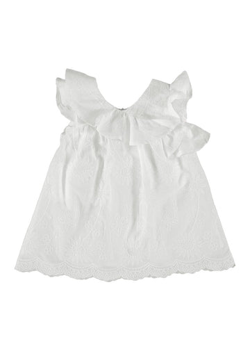 Embroidered Ruffle Dress - White Dress Mayoral
