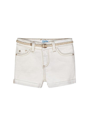 Denim Belted Short - Off White Shorts Mayoral