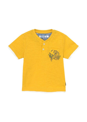 Baker Short Sleeve Tiger Henley - Yellow Top Mayoral
