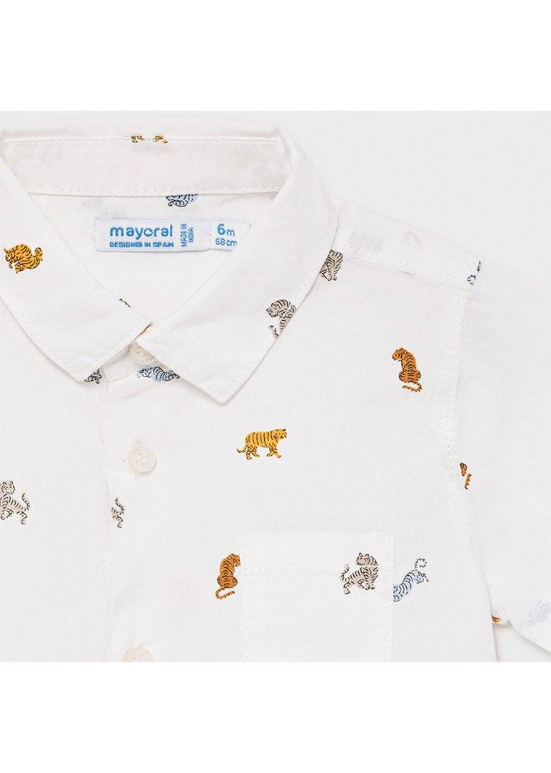 Collared Short Sleeve Shirt With Tigers Top Mayoral