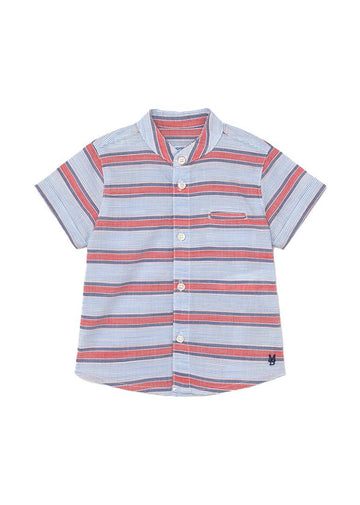 Mandarin Collar Short Sleeve Shirt - Blue & Red Stripe Top Mayoral