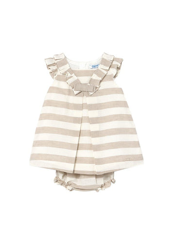 Linen Stripe Dress with Matching Bloomer - Nude & White Set Mayoral