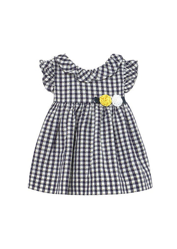 Vichy Gingham Dress with Flower - Navy Dress Mayoral