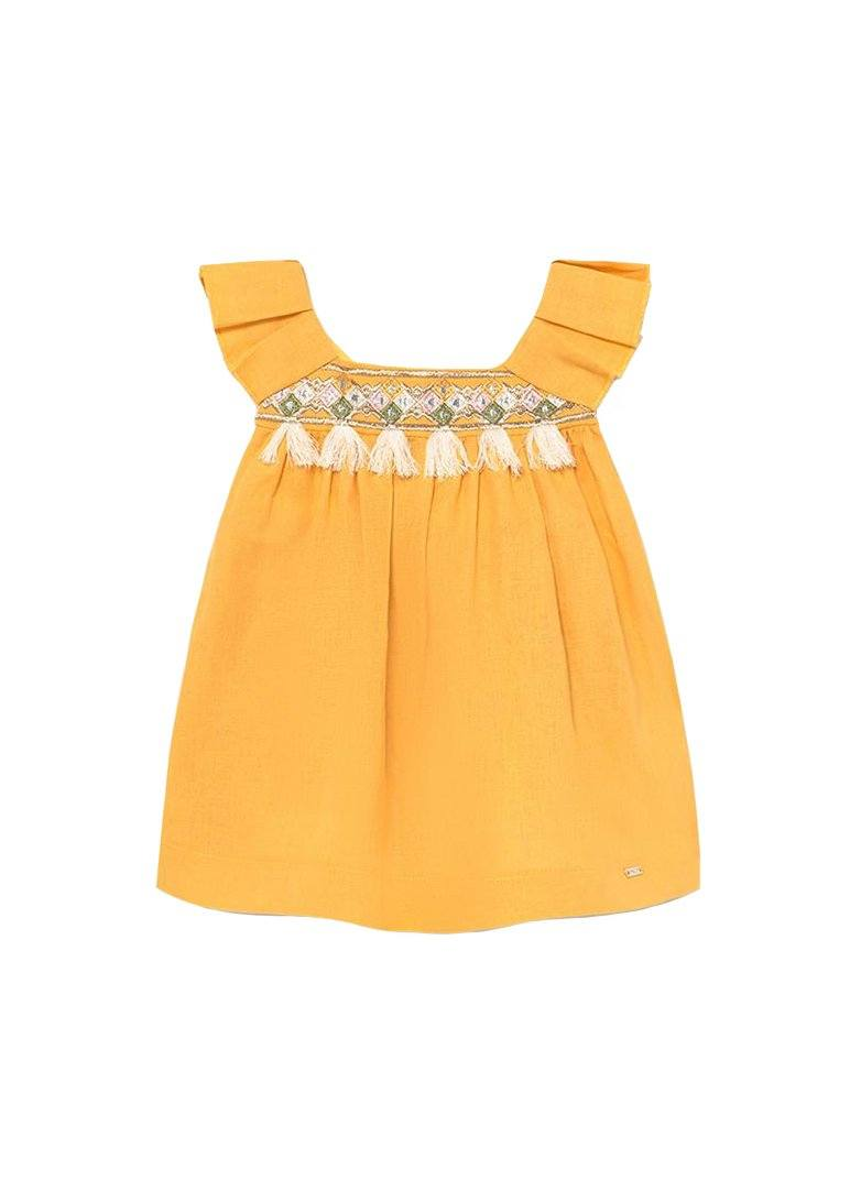 Boho Linen Dress - Yellow Dress Mayoral