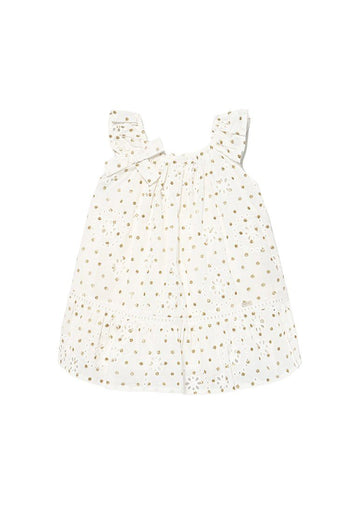 Eyelet Gold Dotted Dress -White Dress Mayoral
